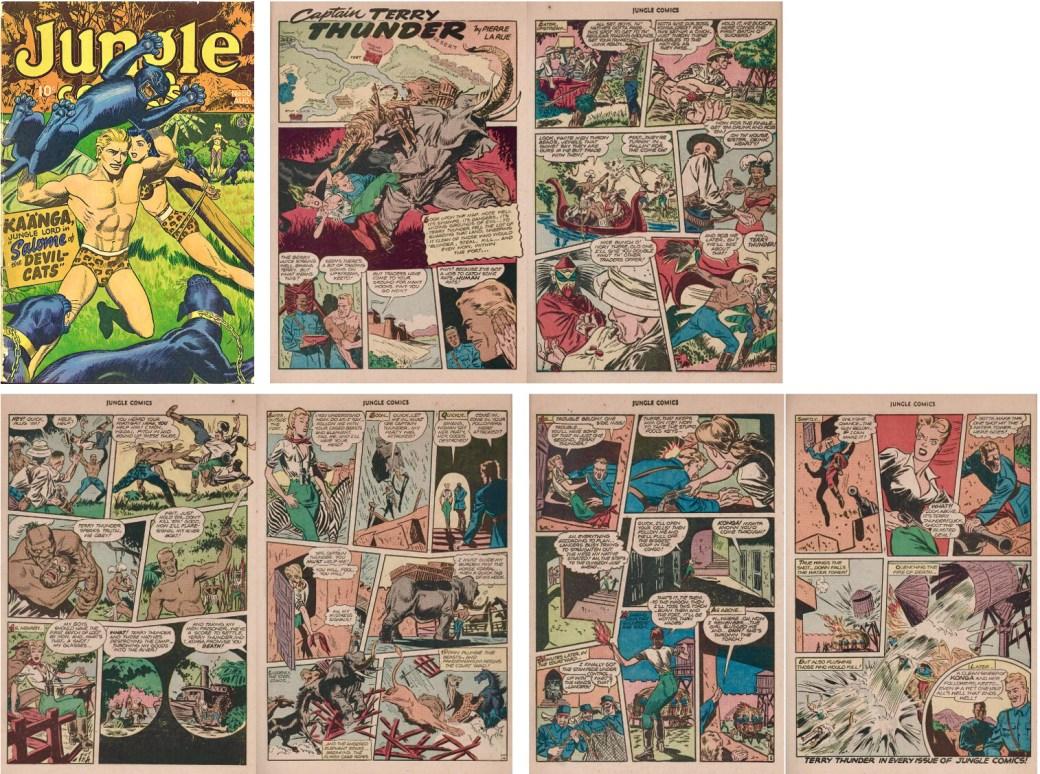 Omslag, och serien Captain Terry Thunder ur Jungle Comics #80 (1946). ©Fiction House