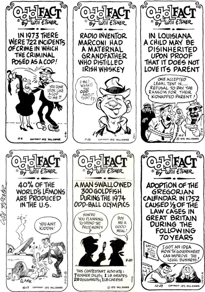Skämtteckningar (varav ett par original) med Odd Fact, från november-december 1975. ©Eisner