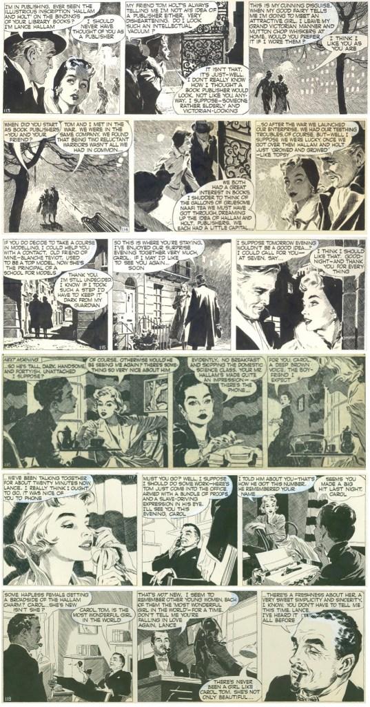Original och kopior av dagsstrippar med Carol Day ur den andra episoden, The Lance Hallam Story, strippar nr 113-118, från 29 april till 4 maj 1957. ©Daily Mail