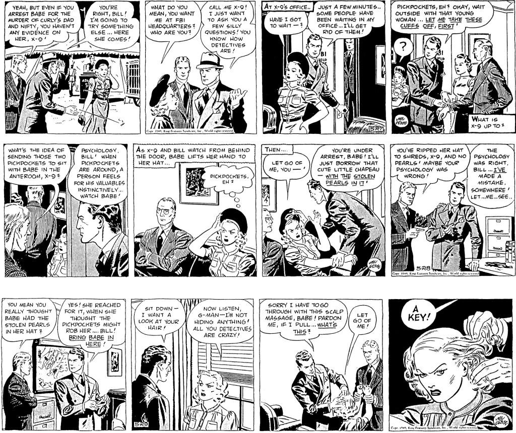27 maj 1940 var första dagsstrippen som Mel Graff signerade efter övertagandet av Secret Agent X-9. ©KFS