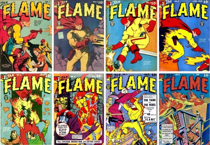 Omslag till Flame #1-8 (1940-42). Eisner medverkade dock endast i #1. ©Fox