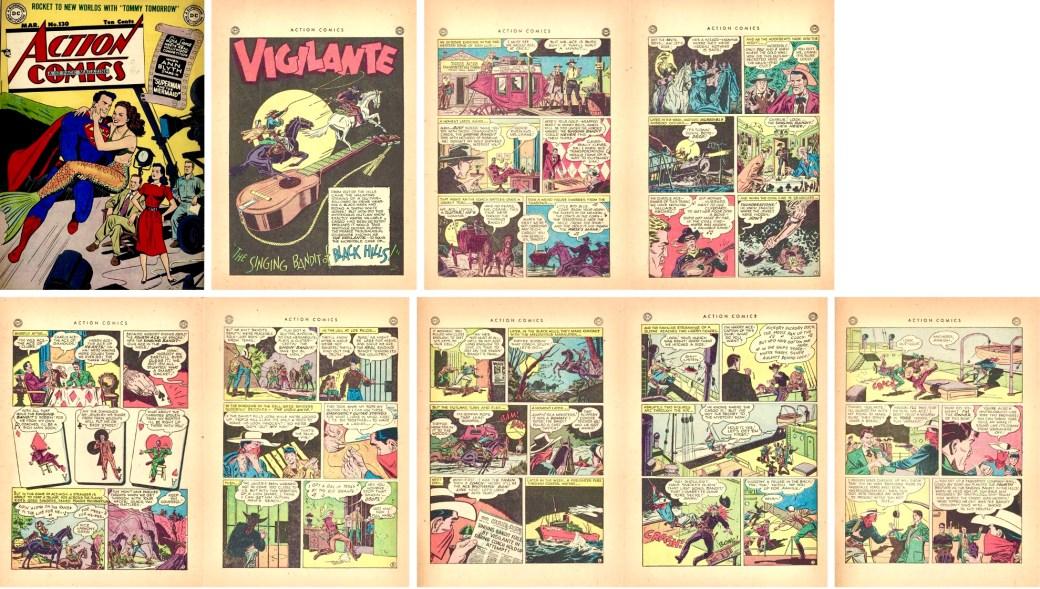 Omslag, och serien Vigilante ur Action Comics #130 (1949). ©DC