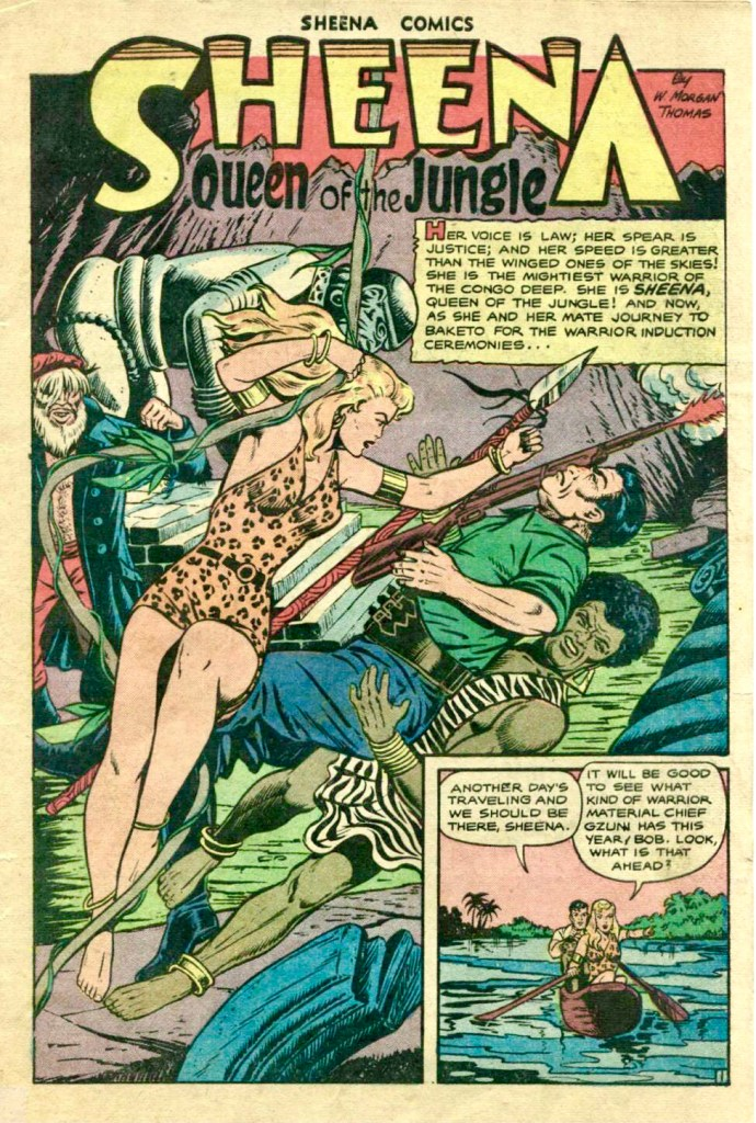 Förstasida ur Sheena, Queen of the Jungle #9 (1950). ©Fiction House/RAP