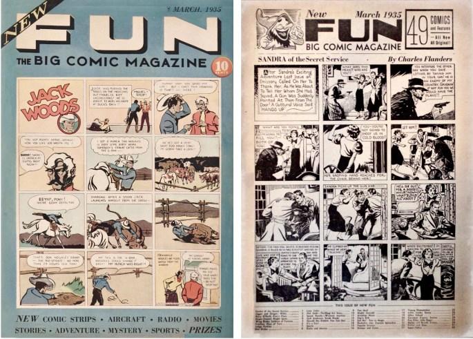 Omslag till New Fun #2 (1935) och en sida ur inlagan med Sandra of the Secret Service av Charles Flanders. ©National Allied