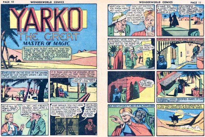 Inledande uppslag med Yarko-episoden ur Wonderworld Comics #7 (1939). ©Fox