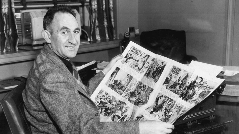 Max Trell granskar den ursprungliga reklamfoldern för Dick's Adventures in Dreamland, tidigt 1947. ©KFS