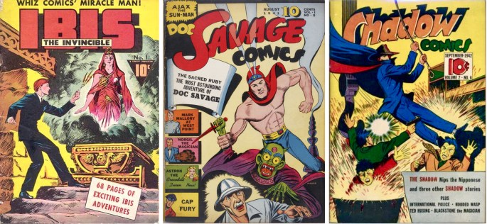 Omslag till Ibis the Invincible #11 (1942), Doc Savage Comics #5 (1941) och Shadow Comics #6 (1942). ©Lowe/Street&Smith