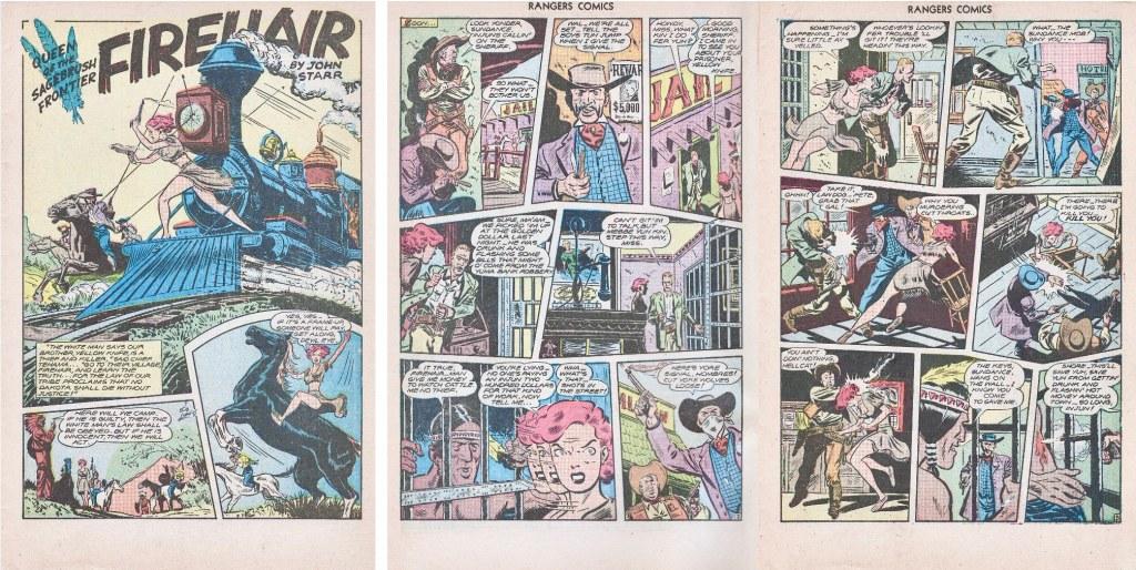 Inledningen till en serie med Firehair, tecknad av Lubbers, ur Ranger Comics #31 (1946). ©Fiction House