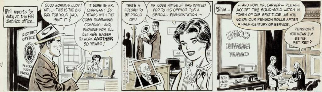 Original till en dagsstripp av Lubbers/Lewis från 15 maj 1961. ©KFS