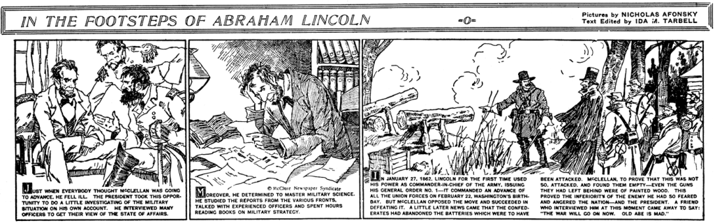 En dagsstripp med In the Footsteps of Abraham Lincoln (1927). ©McClure