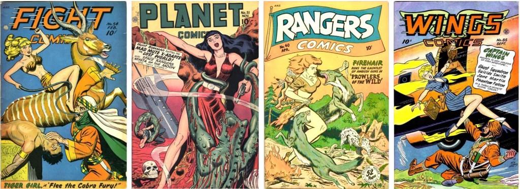 Omslag till några serietidningar med serier av George Evans som en del av innehållet. ©Fiction House