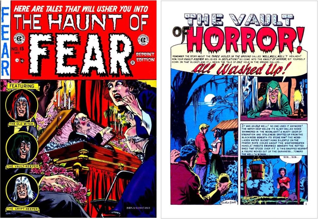 Omslag och inledande sida till en serie av Evans, ur Vault of Fear #15 (1952). ©EC