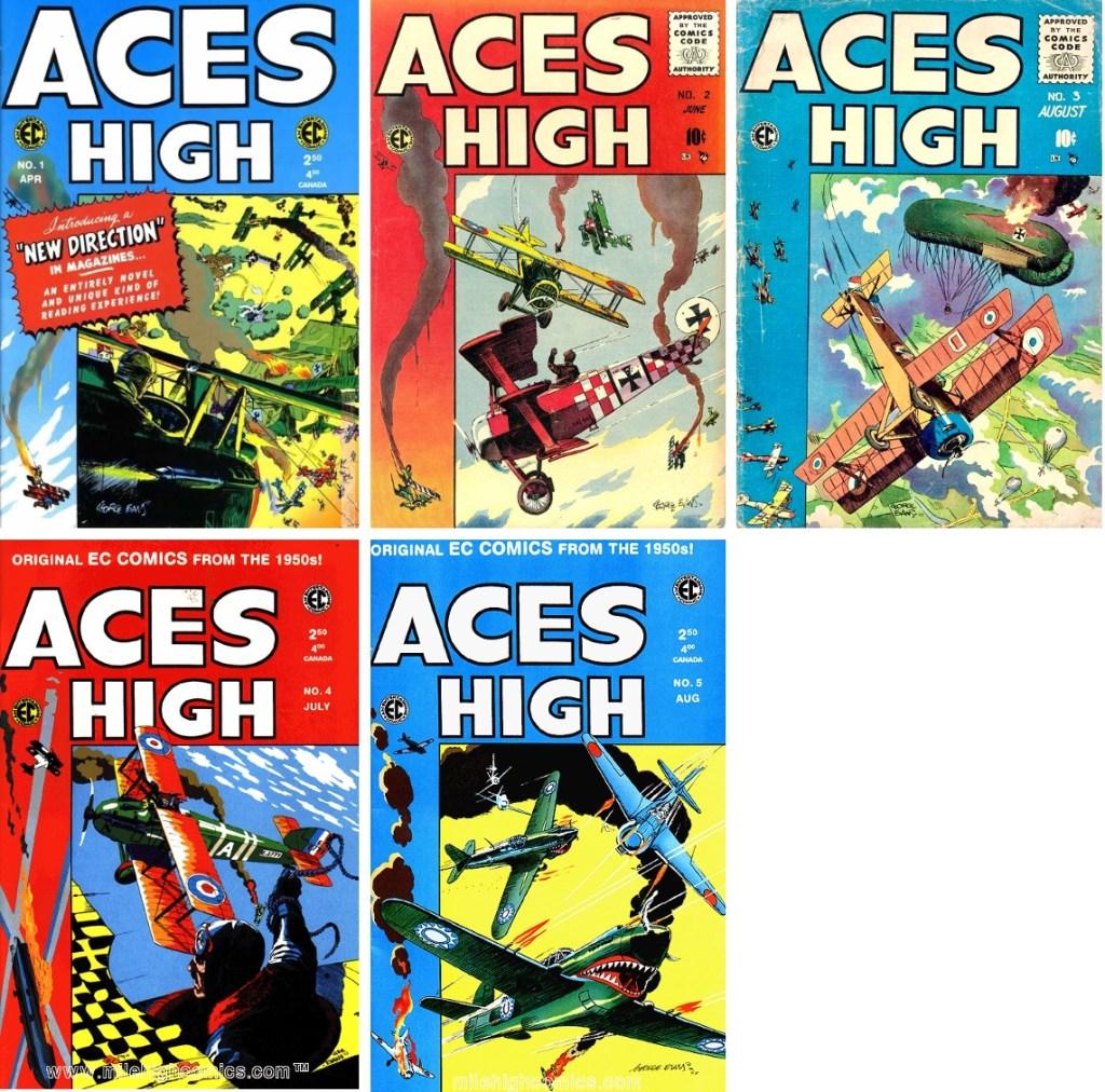 Serietidningen Aces High (1955) utkom med fem nummer. Alla omslag var av George Evans. ©EC