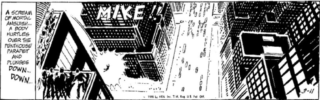 """En dagsstripp med utropet MIKE!!, och med trafik nedanför som kan läsas som morsekod för """"RIP RM"""", från 11 mars 1970. ©NEA"""