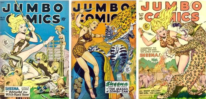Jumbo Comics #111, #113 och #123. ©Fiction House