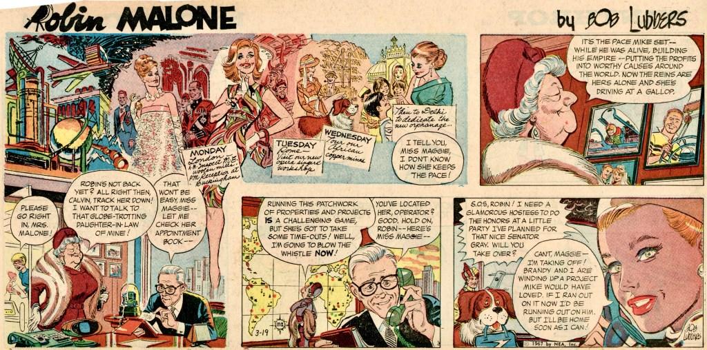 Den inledande söndagssidan i beskuret format, från 19 mars 1967. ©NEA