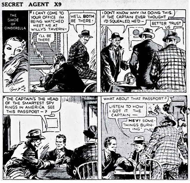 Den första dagsstrippen av Briggs, och inledande stripp ur episoden The Shoe of Cinderella, från 7 november 1938. ©KFS