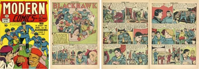 Omslag till Modern Comics #102 (1950) och inledande sidor ur Blackhawk. ©Quality/Comic Magazines
