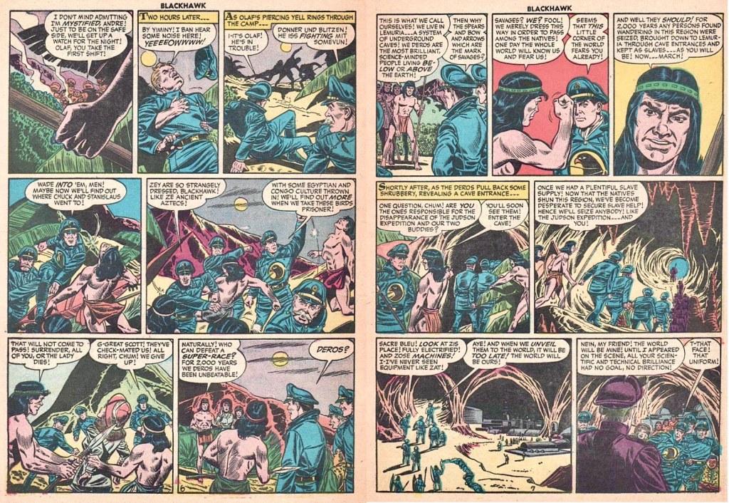 Motsvarande uppslag ur episoden The Super Race från Blackhawk #103 (1956). ©Quality/Comic Favorites