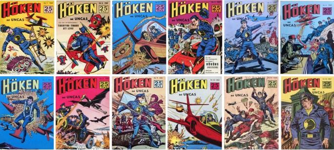 Omslag till det första dussinet nummer av Höken (1957). ©Formatic
