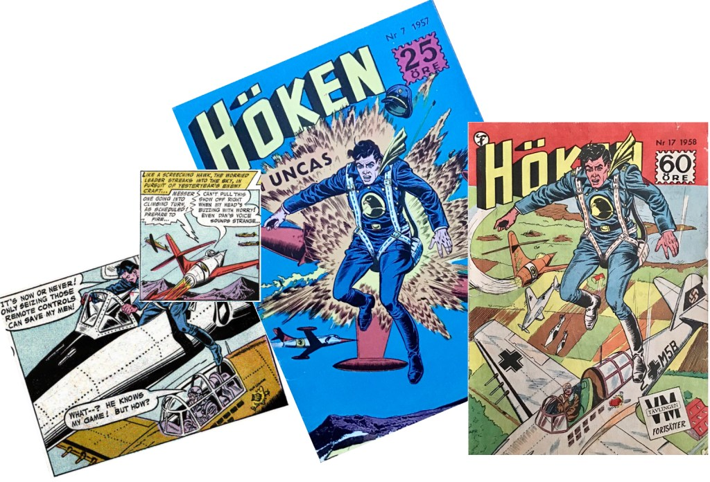 Omslaget till Höken nr 24/58 baserar sig på omslaget till nr 7, 1957, och ett par serierutor från sjätte-sjunde sidorna i Dogfight-episoden. ©Formatic/DC/National