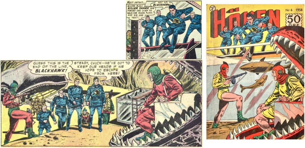 Omslaget till Höken nr 6/58 baserar sig på ett par serierutor från femte och sjätte sidorna i episoden. ©Formatic/DC/National