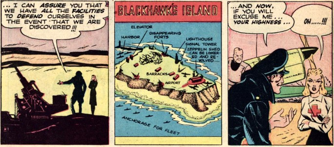 Blackhawks utgick i sina flygräder från sin ö, Blackhawks Island, ur Military Comics #1 (1941). ©Quality/Comic Magazines