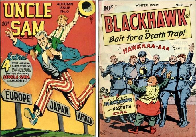 Uncle Sam Quarterly #8 blev i nästa nummer Blackhawk #9. ©Quality/Comic Magazines