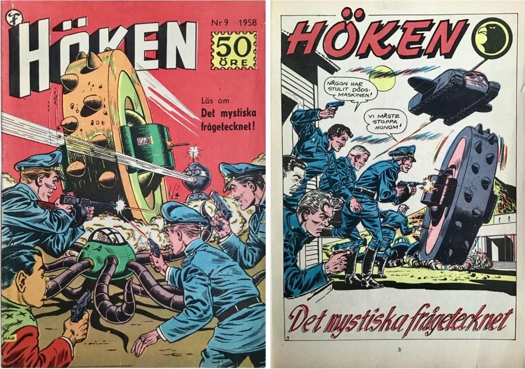 Omslag till Höken nr 9, 1958 och inledande sida ur Höken-serien. ©Formatic/EuropaPress