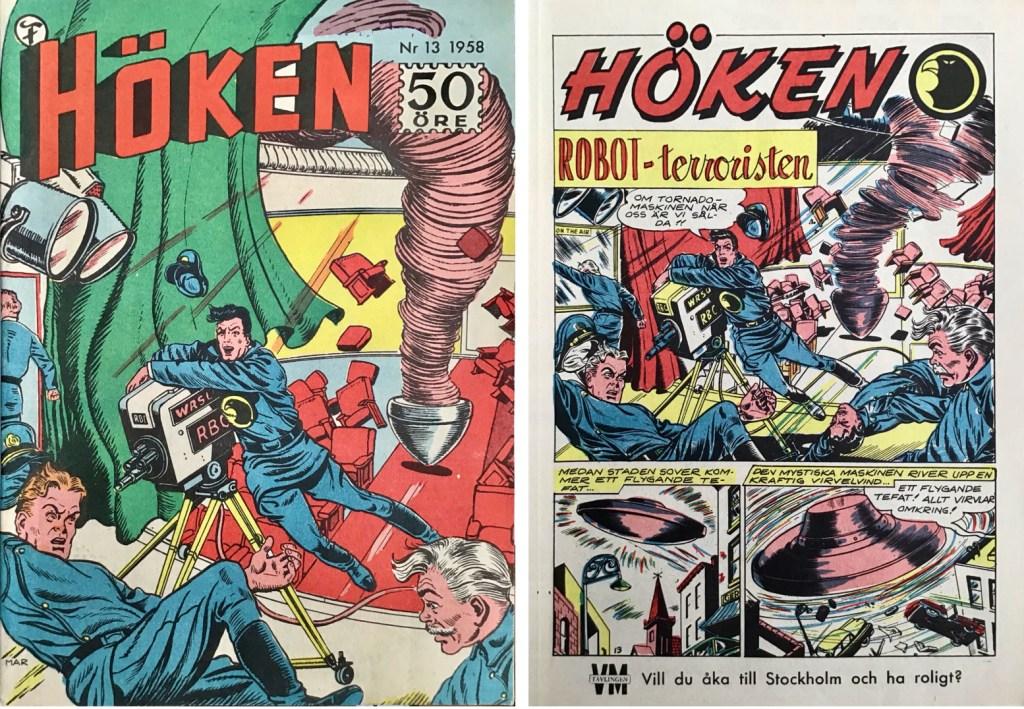 Omslag till Höken nr 13, 1958 och inledande sida ur Höken-serien. ©Formatic/EuropaPress