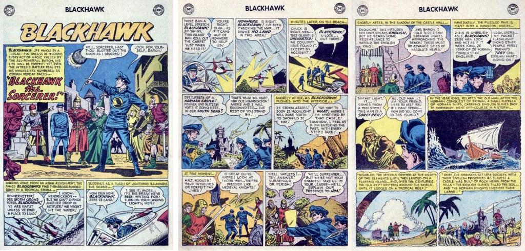 Inledande sidor ur episoden Blackhawk the Sorcerer från Blackhawk #109 (1957). ©DC/National