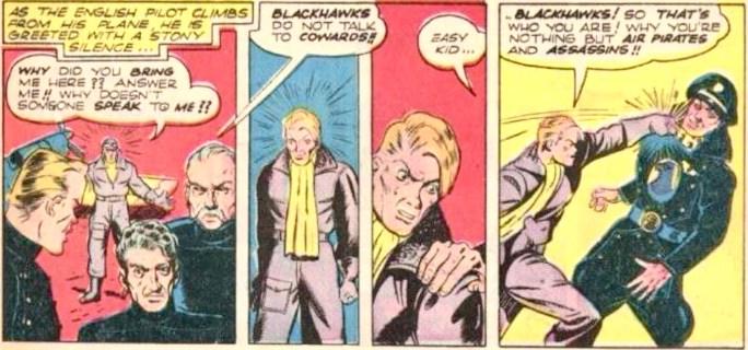Redan i andra numret av Military Comics hade Blackhawk uniformen med höksymbolen på bröstet. ©Quality/Comic Magazines