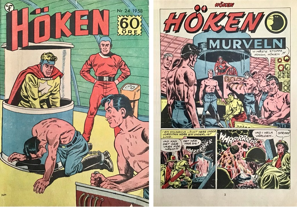 Omslag till Höken nr 24, 1958 och inledande sida ur Höken-serien. ©Formatic/EuropaPress