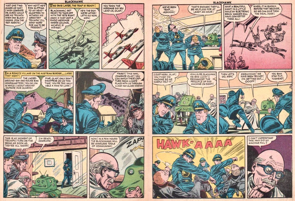 Uppslaget med sidorna 8-9 från episoden The Phantom Saboteur ur Blackhawk #98 (1956). ©Quality/Comic Favorites