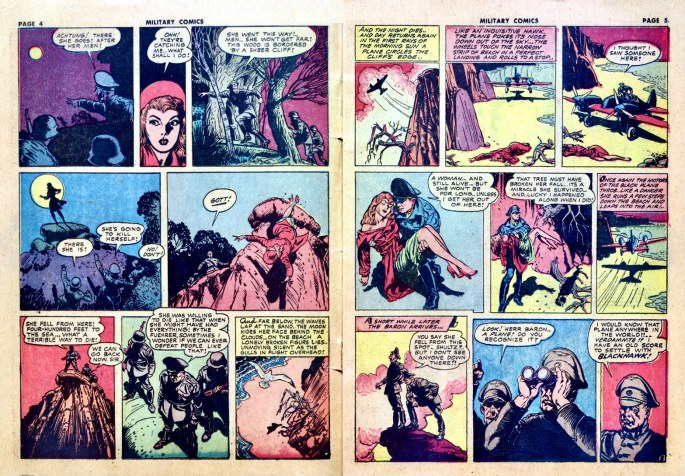 Ett uppslag ur Military Comics #13, när Reed Crandall tagit över som tecknare. ©Quality/Comic Magazines
