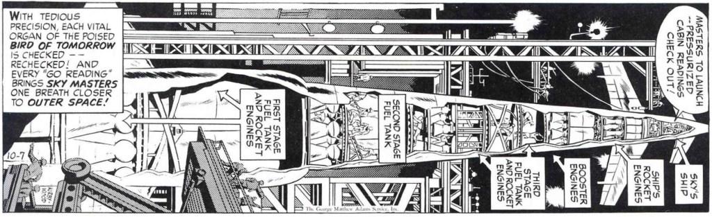 Dagsstripp på snedden med Sky Masters, från 7 oktober 1958. ©Adams