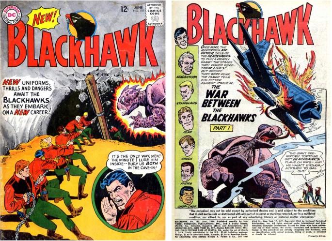 Omslag och inledande sida ur Blackhawk #197 (1964). ©DC/National