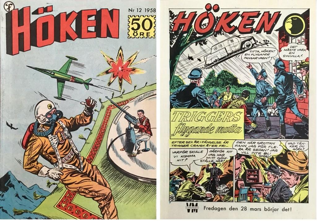 Omslag till Höken nr 12, 1958 och inledande sida ur Höken-serien. ©Formatic/EuropaPress