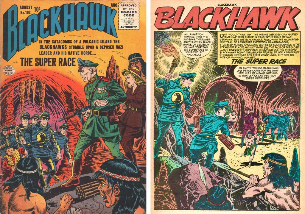 Omslag till Blackhawk #103 (1956) och inledande sida ur episoden The Super Race. ©Quality/Comic Favorites