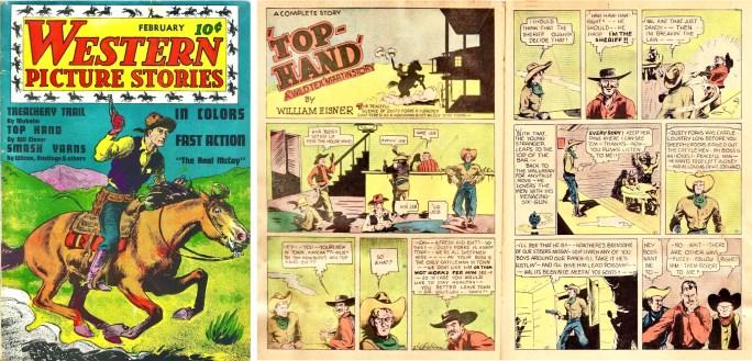 """Omslag till Western Picture Stories #1 (1937) och ett inledande uppslag ur """"Wild Tex"""" Martin. ©Comics Magazine"""
