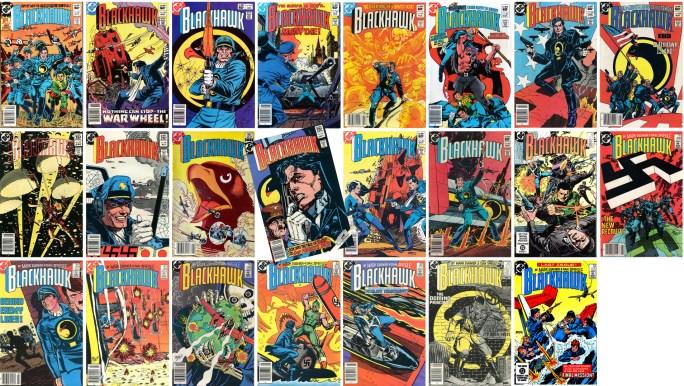 Blackhawk av Mark Evanier (manus) och Dan Spiegle (teckningar) utkom med 23 nummer (1982-84). Omslag av Dave Cockrum,  Ernie Colón, Howard Chaykin, Dan Spiegle och Gil Kane. ©DC/National