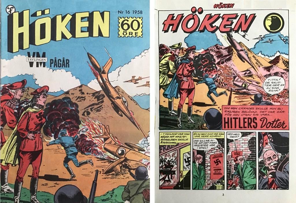 Omslag till Höken nr 16, 1958 och inledande sida ur Höken-serien. ©Formatic/EuropaPress