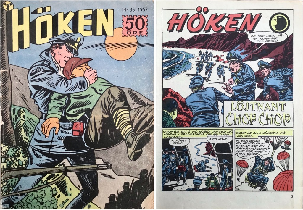 Omslag till Höken nr 35, 1957 och inledande sida ur Höken-serien. ©Formatic/EuropaPress