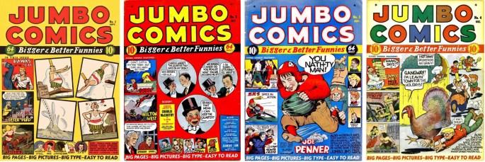 Omslag till de fyra första numren av Jumbo Comics, en serietidning i lite större format. ©Fiction House