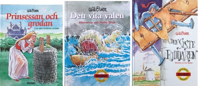 Omslag till tre utgåvor på svenska (1998-99). ©Bokfabriken/Eisner