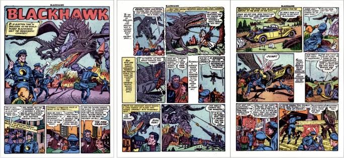 Motsvarande inledning i original ur Blackhawk #56 (1952). ©Quality