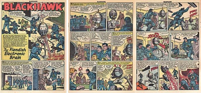 Motsvarande inledning i original från den andra Blackhawk-serien ur Blackhawk #77 (1954). ©Quality