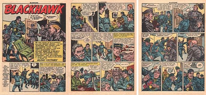 Motsvarande inledning i original från den andra Blackhawk-serien ur Blackhawk #75 (1954). ©Quality