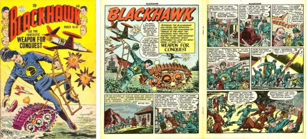 Omslag till Blackhawk #86 och inledande uppslag till episoden Weapon for Conquest. ©Quality/Comic Favorites