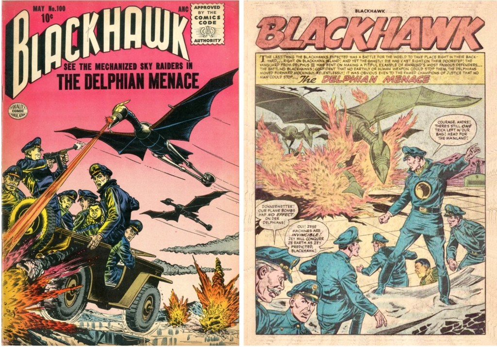 Omslag till Blackhawk #100 och inledande sida ur episoden The Delphian Menace. ©Quality/Comic Favorites